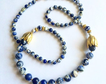 Blue and White Bloom Necklace