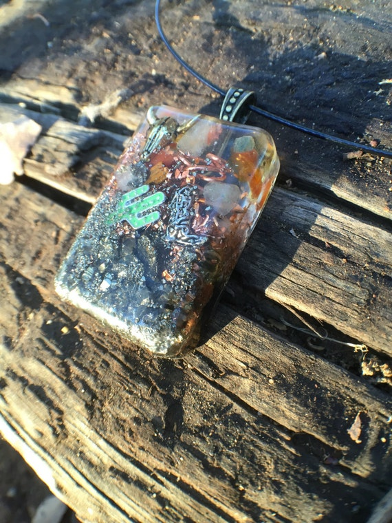 Sedona Vortex Orgonite® talisman- Rustic Orgonite® Positive Energy Generator necklace- Desert Sun Vortex Orgonite®
