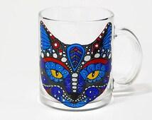 Coffee Mug Cat Mug Hand Painted Mug Painted Coffee Mug Cat Glasses Funny Cat mug
