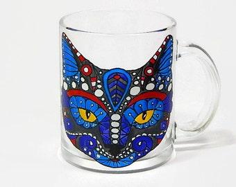 Coffee Mug Cat Mug Hand Painted Mug Painted Coffee Mug Cat Glasses Funny Cat mug Blue cat mug
