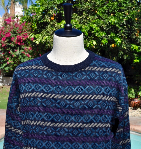 Vintage 90s Jantzen Blue Beige and Green Pattern Sweater Sz L