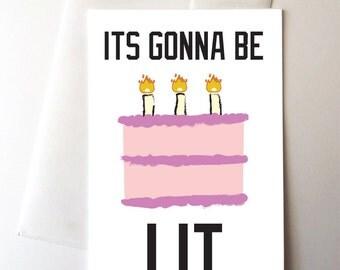 Lit Cake Birthday Card