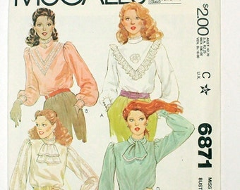 McCalls 6871, Uncut, Factory Folded, Vintage 1979 Sewing Pattern. Size 12. Four Long Sleeved Womens' Blouses