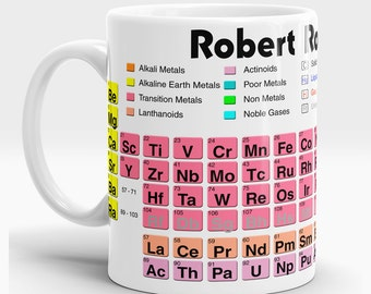 Personalised Periodic Table of the Elements Mug Educational Chemistry Phyiscs Chemist Coffee Tea Gift Present