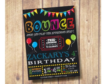 Bounce House Theme Birthday Party Invitation