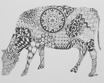 Signed Original Zentangle Cow