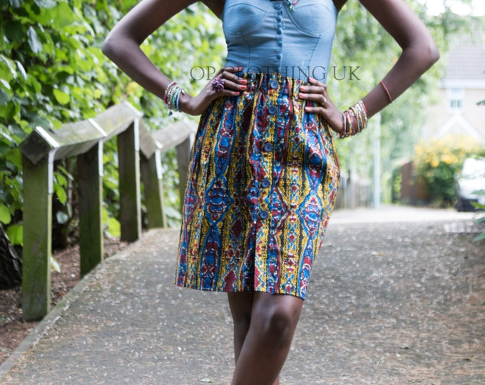 Women's print skirt, Ankara skirt, casual skirt, multi-colored skirt, fitted skirt, skirt with elastic, blue skirt