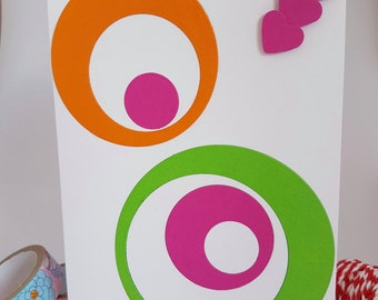Colourful Circles and Hearts Thank You Card Handmade TH01