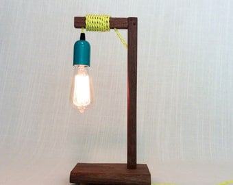 Organic Modern Handmade Wood Table/Bedside/Desk Lamp, Custom Colors