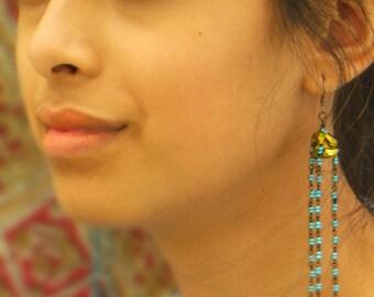 SAMKUTKHEDI -- dangling prism and seed bead chandelier earrings (handmade, Czech glass)
