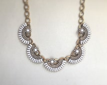 Gold and white statement necklace,Statement necklace, crystal statement necklace,