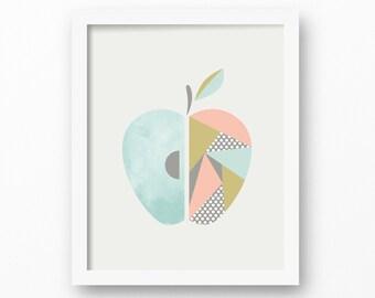 Apple, Scandinavian, Printable, Wall art, Modern prints, Children's nursery, Girls nursery, girls wall art, Kids room decor, Mint, Pink