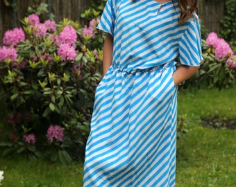 tailor made midi dress , blue and white stripes