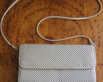 Vintage 80's White Metal Mesh Shoulder Bag Purse