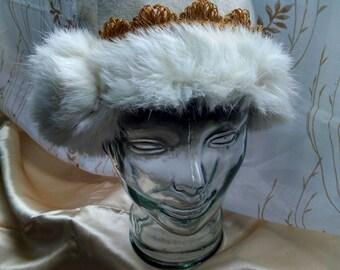 Fur trimmed felt hat