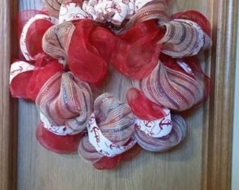 Nautical Red, White and Blue Deco Mesh Wreath