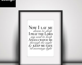 Now I lay me down to sleep modern printable wall art & sign. Great gift for baptism, christening, nursery kids room. DIGITAL DOWNLOAD