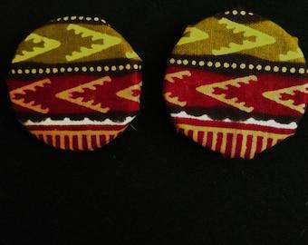 Olive African Dashiki Earrings