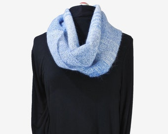 Bright handwoven infinity scarf in mohair