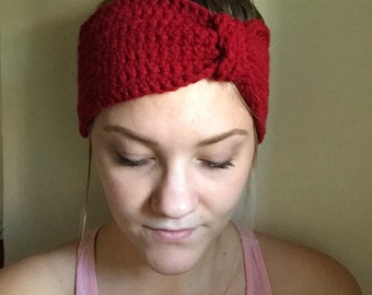 Crochet Red Headband