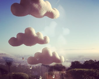 Cloud Mobile w/Smaller Clouds & Glass Bead Raindrops