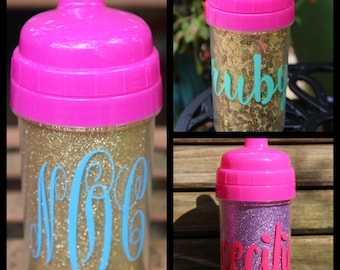 10oz Personalized Glitter Sippy Cups
