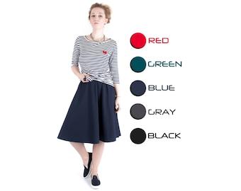 Midi skirt Blue skirt Women fashion Hand made skirt Women clothing Half circle skirt Classic skirt Round skirt Wide skirt