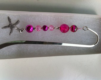 Sterling silver bookmark with pink beads