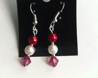 red and pearl earrings