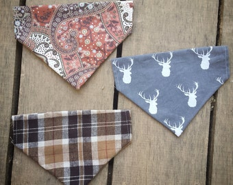 Deer Dog Bandana, fall, paisley, slide on bandana,brown, thanksgiving, plaid,  pet accessory, stocking stuffer, dog lover