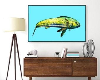 Aloha Mahi- Mahi Mahi Fish Modern Hawaii Style Original Art- Print, Framed Print, or Canvas Giclee