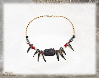 "Vampire Teeth Necklace, 15"", Homemade, Black, Red, Gold, Ashrock, Hematite, Mother of Pearl, Jewellery, Jewelry, Unisex"