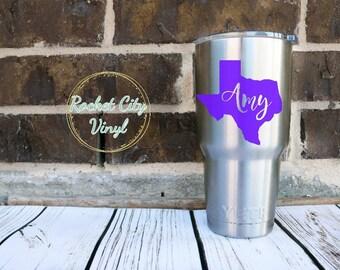Texas Monogram Yeti, Yeti Monogram, Personalized Yeti, Name State Yeti, Custom Name Decal for Yeti, Custom Decal, Texas Decal