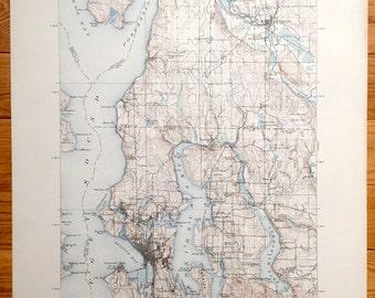 Vintage Seattle Map Etsy - Us map seattle washington