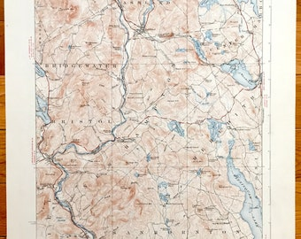 Antique Squam Lake & Winnisquam Lake, New Hampshire 1927 US Geological Survey Topographic Map – Holderness, Plymouth, Meredith, Ashland