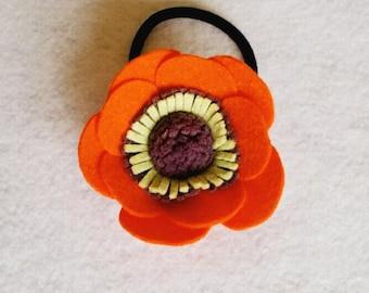 Felt Anemone Hair Tie - Copper