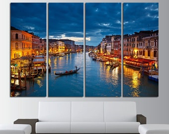 Grand Canal at night Venice Canvas Wall Art Set Venice Print Venice Canvas Art Venice Poster Print Venice Wall Decor Italy Photo Wall Decor
