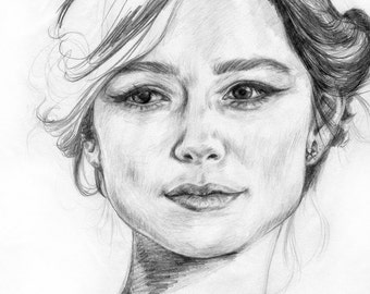 Study of Keira Knightley - Pencil drawing on paper (fashion illustration)