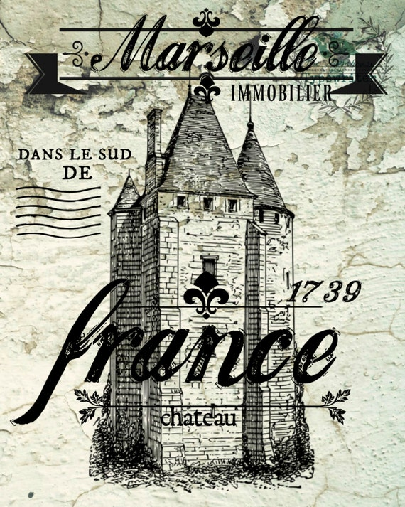 Chateau Marseille 8 X 10 and 18 X 24 French Country Chalkboard Download Art