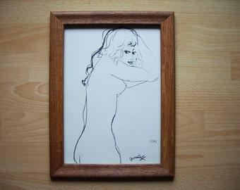 Naughty girl 1960s Vintage Erotic Print