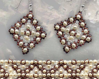 Beading Pattern seed beaded bracelet earrings pearls Beading Tutorial Beading Patterns detailed instructions beading stitch unique design