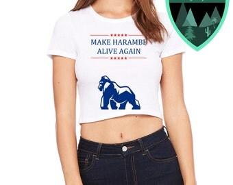 Harambe Women's Crop Top, Harambe Trendy Shirt, Harambe Meme, Harambe Trendy Crop Top, Harambe College Shirt, Trendy Crop Top, Edgy Top
