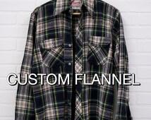 Custom Vintage Flannel - Choose What Design You Want On The Back - Flannel Shirt - Vintage Flannel- Oversized Flannel - Grunge -Teen Fashion