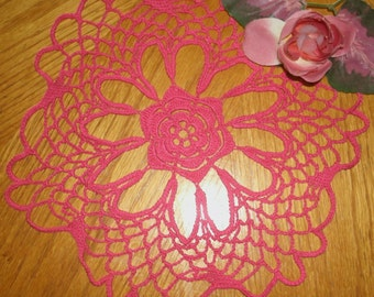 "Hand Crochet Doily - ""Raspberry"""