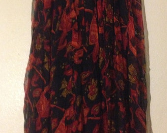 Red and black floral long skirt