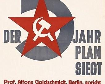 Vintage Stalin Communist East German 5 Year Plan Poster  A3 Print