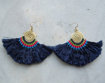Handmade Spiral Royal Blue Tassel Earrings