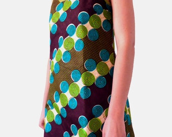 Tunic in wax or short dress, fancy tunic, tunic with straps, tunic, spiral graphic African wax cotton tunic