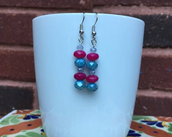 Pink and blue faceted sparkle earrings