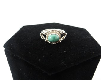 Vintage Oxidized Silver Ring with Turquoise Stone